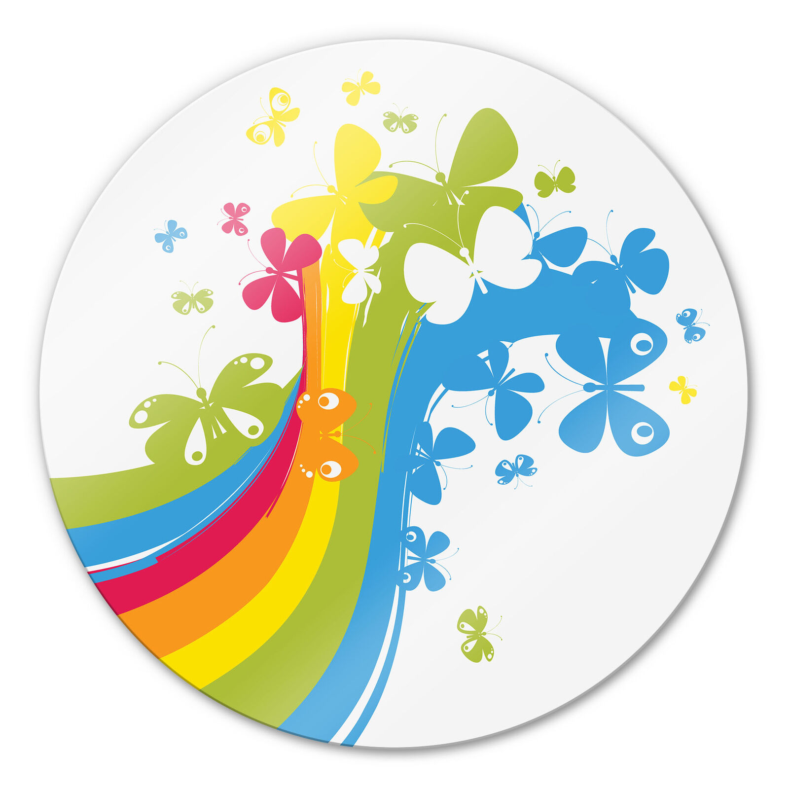 Glass Picture papillon Rainbow Round Couleurful Wall Picture 4mm ESG safety glass deco