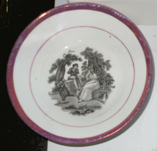 c1835 English Deep Saucer, Black Transfer of Lovers in Glen, Puce Lustre Rim