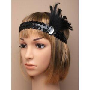 Black Sequin Feather Headband 1920s Fancy Dress Charleston Flapper Band
