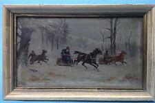 1v2: Ölgemälde Winterlandschaft Jäger Pferd Schlitten Wolski Polen Podolien 1900