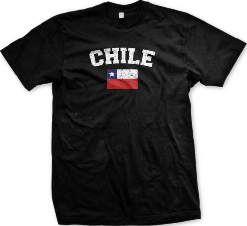 Chile Faded Distressed Flag Chilean Country Pride Mens T-shirt