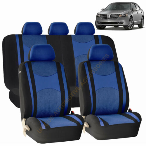 BLUE Front /& Back SPLIT Bench SEAT COVERS 9pc SET for LINCOLN MKZ MKT MKX