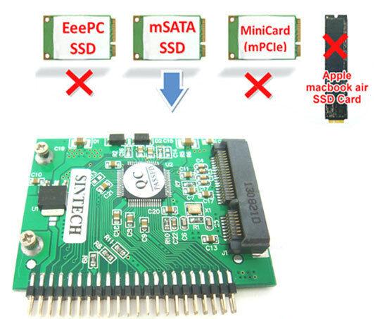 """SINTECH mSATA SSD to 44pin IDE adapter as 2.5"""" IDE HDD PA6008B"""