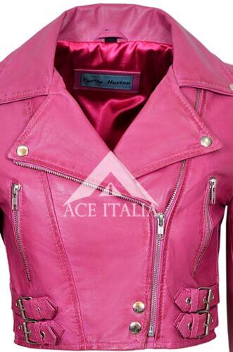 Missy Ladies Short Fashion Fitted Pink Biker Soft Napa Goth Leather Jacket 5625