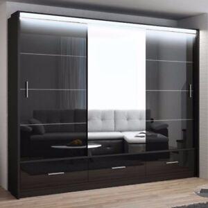 Kleiderschrank weiß schwarz hochglanz  Kleiderschrank Olympique 250 Weiß Schwarz Hochglanz Modern ...