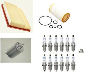 Kit-de-Servicio-Bosch-se-ajusta-a-Mercedes-C-CLASS-CLK-Aire-Aceite-Bujias-Filtro-De-Combustible