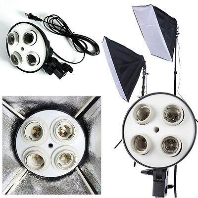 Photo Video Kits 4 Socket E27 Lamp Head Holder &1 Lighting Softbox & 3 Plugs New
