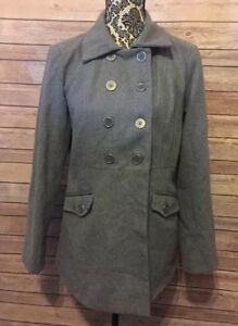 Paris-Blues-Women-039-s-Coat-Sz-L-Wool-Blend-Gray-Lined