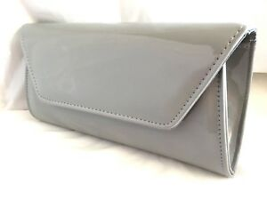 35f55d2fa3e3c NEW GREY FAUX PATENT LEATHER EVENING CLUTCH BAG WEDDING PROM PARTY ...