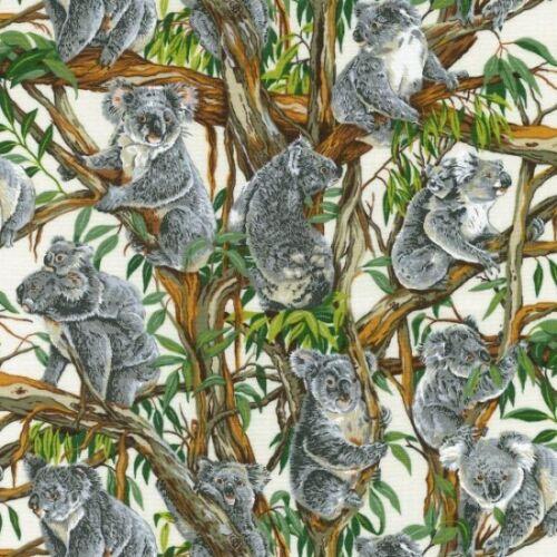Fat Quarter Koalas on Cream Australia Cotton Quilting Sewing Patchwork Fabric