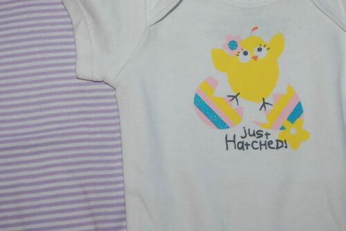 Baby Girls Tee Shirt 2 LOT BODYSUIT Purple Stripe CHICK Glitter NB 0-3 MO 3-6 MO