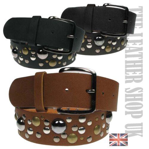 40mm Da Donna UK Fashion a buon mercato Nero Marrone Marroncino Borchie Design Cinghia WM11