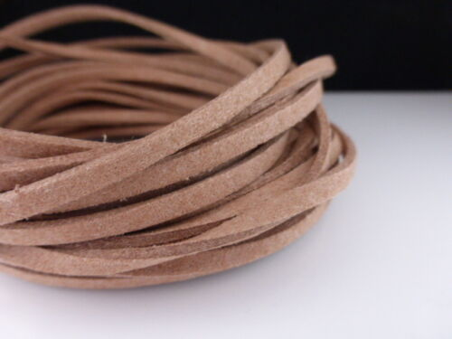 5m x 3mm Caramel Brown Faux Imitation Suede Cord Thong Beading Necklace F65