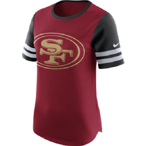 newest collection a175c 80e4b Details about Nike Women's Modern Fan Gear Up NFL 49ers XS Red Black White  Gold Shirt Top