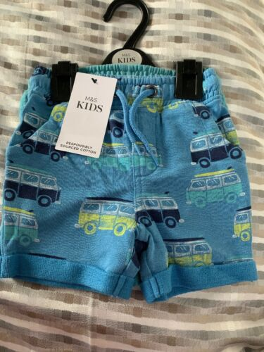 BNWT M/&S KIDS 2 PACK BOYS COTTON SHORTS 3-6  Months Blue Mix