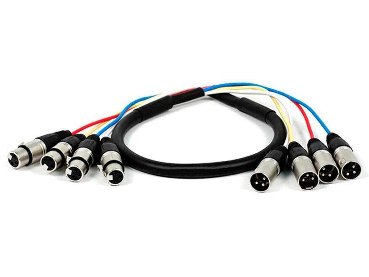 Monoprice 4-Channel XLR Male to XLR Female Snake Cable Cord - 3ft - Black/Silver. Available Now for 12.99