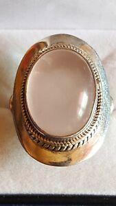 Silver-925-Rose-Quartz-Big-Ladies-Ring