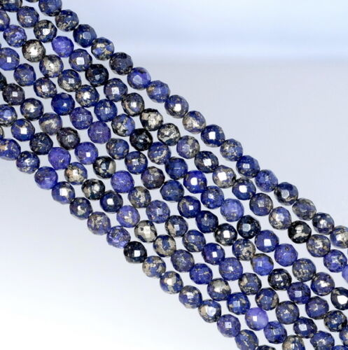 4MM PURPLE PYRITE INCLUSIONS GEMSTONE GRADE AA FACETED ROUND LOOSE BEADS 15.5/""