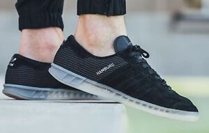 new style 6acba 3cffe Image is loading Adidas-Hamburg-RARE-Black-Suede-Halfshoe-11-5-
