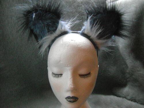 Realistic Grey Fox Ears With Black Luxury Faux Fur Tips Fab Fancy Dress Ears