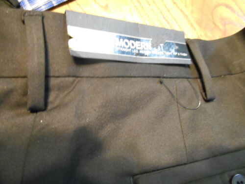 9 Polyester Big Tall Modern Fit Solid Black Flat Front Dress Pants SR$70NEW Apt