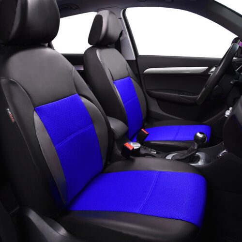 Universal Car Seat Covers Leather Airbag Accessories Blue For Car SUV TRUCK VAN
