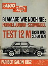 Auto Motor Sport 22 62 1962 Ford Taunus 12 M Siata Mistral Dodge 330 Interlagos