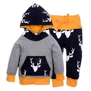 33f624bbc Christmas Toddler Baby Boys T-Shirt Tops Hoodie Pants Outfits 2Pcs ...