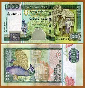 P-120d UNC,Elephant 2006 Banknotes,Original Sri Lanka 1000 1,000 Rupees