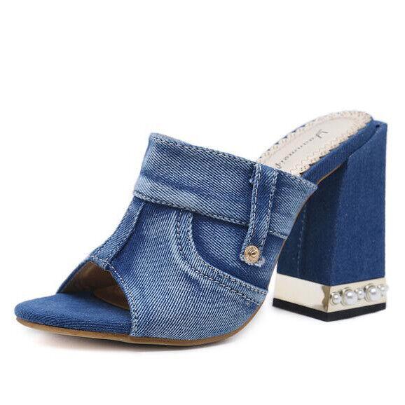 Sandale quadrato eleganti sabot 8 cm denim jeans blu simil pelle eleganti CW092