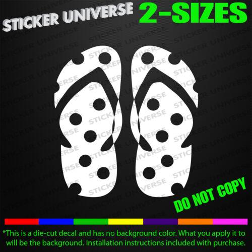 Flip Flops Sandals Fun Car Window Decal Bumper Sticker Beach Hawaii Tropical 366