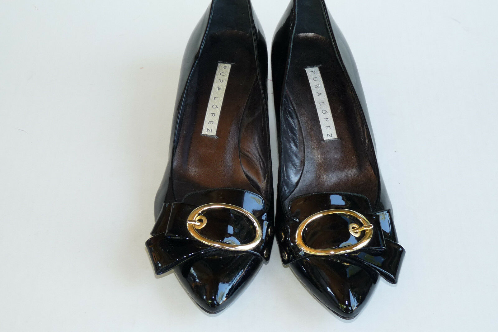 Pura Lopez Slip on Pumps Black Size 39 8 Patent Leather Low Heel Bow