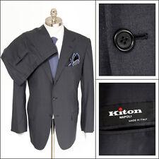 Mens KITON Diamante Blu Gray Super 150's Rolling 3Btn Flat Front Suit 54 7R 44 R