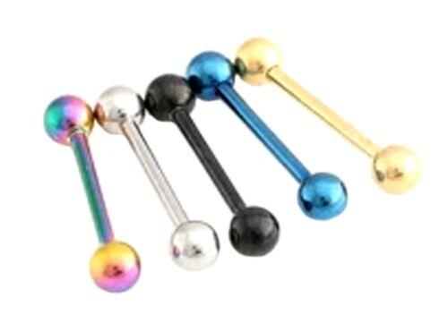 TONGUE BAR 16 mm Straight Surgical Steel Nipple Bar Body Piercing Ball Barbell