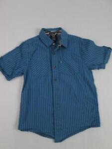 Shaun White Kids Boys Dress Shirt Grayblue Striped Summer Casual M