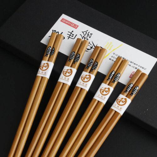 5Pair Wooden Eco-friendly Reusable Chopsticks Tableware Utensil 22cm W//Case #ur