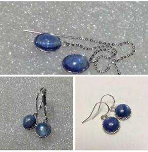 Sterling-Silver-Natural-Kyanite-Dangle-Earrings-VARIETY-Style-Shapes-amp-Sizes