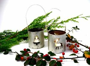 GISELA-GRAHAM-Christmas-candle-holders-SET-of-2-lantern-reindeer-amp-tree-rustic