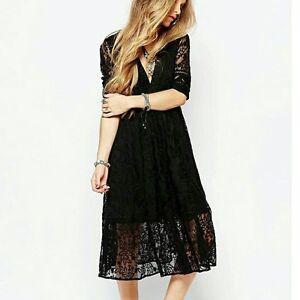 b204f9bece  168 Free People Mountain Laurel Lace Crochet Midi Dress Black Size ...