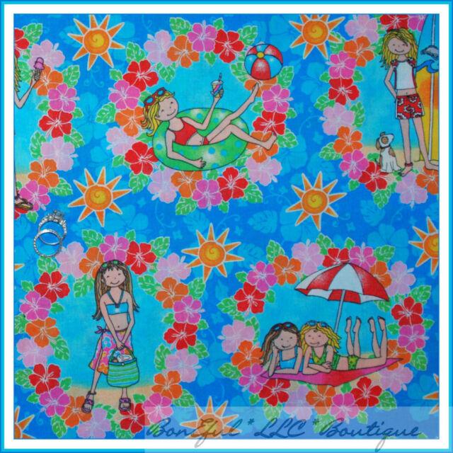 BonEful Fabric FQ Cotton Quilt VTG Blue Beach Girl Sun*Flower Hawaii*an Hibiscus