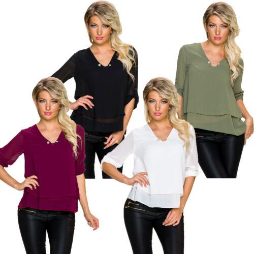 Longsleeve Shirt Bluse Tunika Top Turn-up Ärmeln Nadel Krepp Gewebe Büro S 34 36