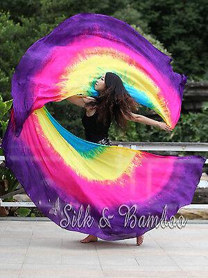 1 PIECE 2.7m*1.1m 8 Mommes habotai Lissome half circle belly dance silk veil