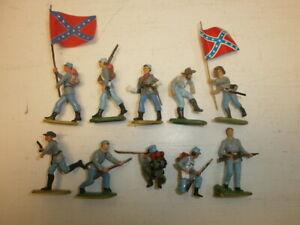Konvolut-10-alte-Elastolin-Kunststoff-Figuren-Suedstaatler-Buergerkrieg-USA-zu-4cm
