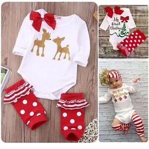 034-MY-First-Christmas-034-Newborn-Baby-Girls-Romper-Leg-Warmer-Outfits-Christmas-Gift