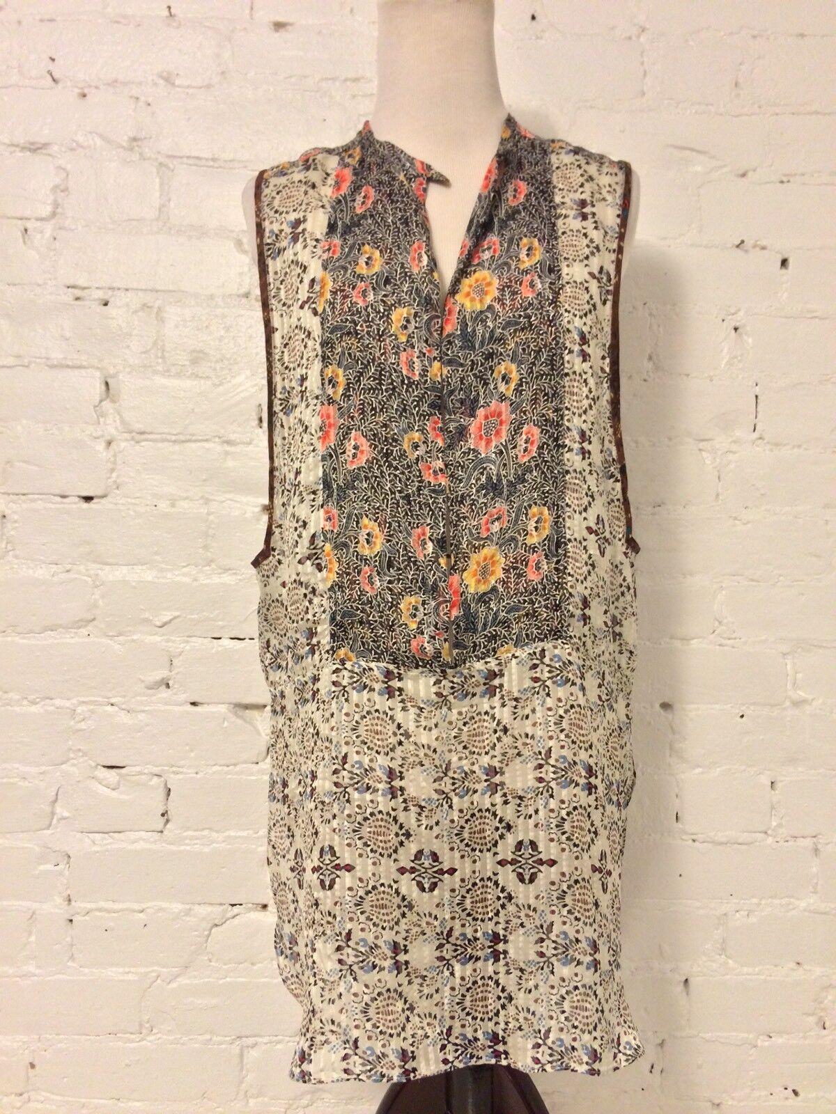 Isabel Marant Silk Half Button Tunic Blouse Tonal Sleeveless Rosa Floral Größe S