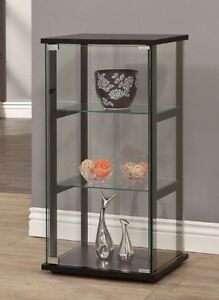 Curio Display Cabinet Knick Knack Black 3 Shelf Glass Case ...