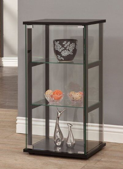 Short Curio Cabinet Black 1 Door Four Sided Gl Display Case For