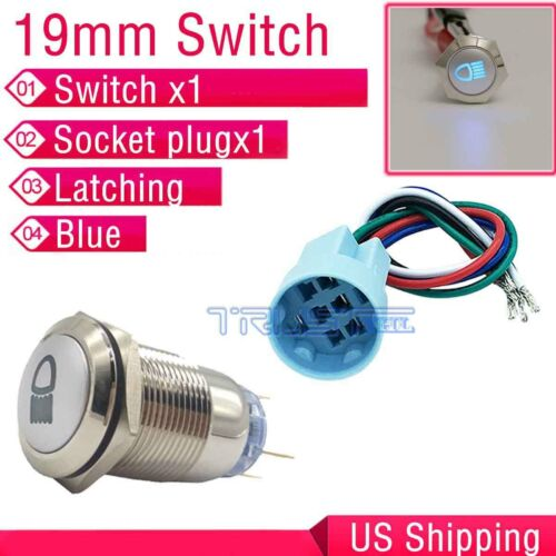 19mm Blue LED Push Button Metal Latching Switch Car Fog Lights ON//OFF Socket