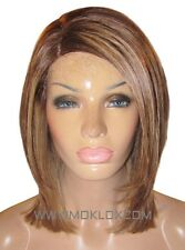 "Human Hair Wig Glueless Front Lace 12"" Blonde Brown 4 27 Roots Highlights Moklox"