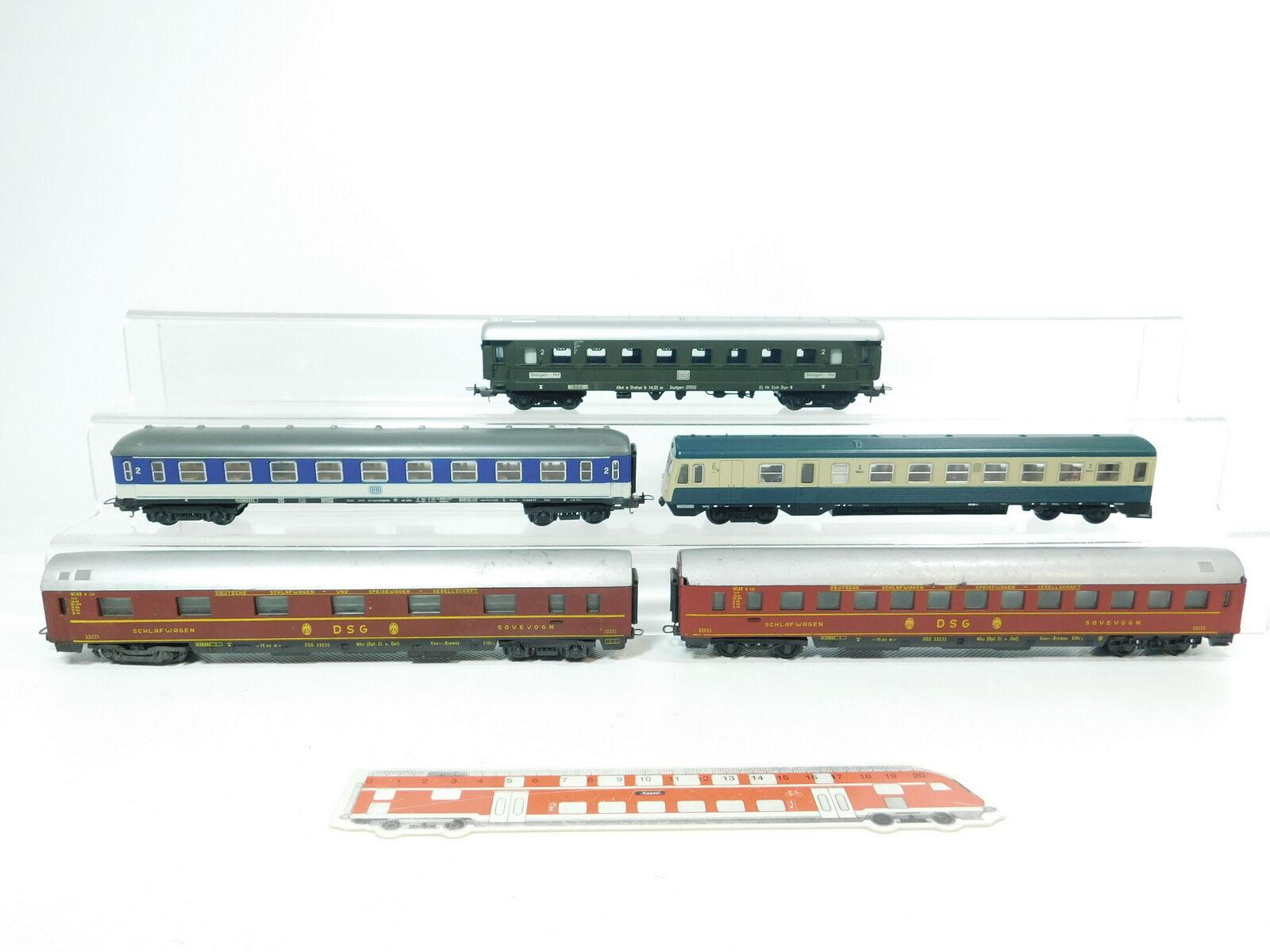 Bg838-2   5x lima h0   dc bastler schlafwagen 33235 dsb + personenwagen af4  m db etc